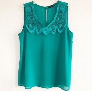 Jella Couture Teal Green Sleeveless Top. Sz Medium